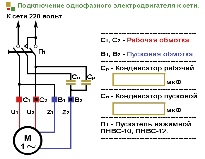 Схема намотки асинхронного двигателя с пусковой обмоткой