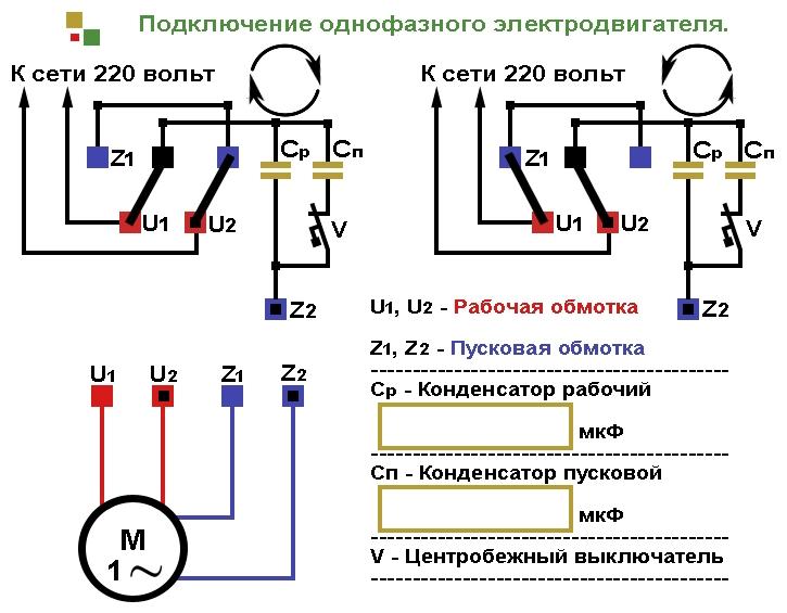 Схема подключения однофазного электродвигателя с конденсаторами